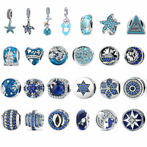VOROCO 925 Silver Charms Blue Style DIY Beads Fit Bracelets Necklace For Girls