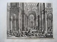 Jesus vertreibt  Pharisäer Tempel  Küsell nach J. Baur alter Kupferstich  1682