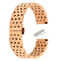 Rose Gold Stainless Steel Watch Band Wristwatch Strap Butterfly Clasp 20/22mm
