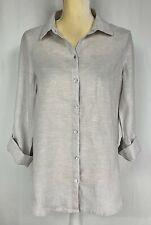 Sigrid Olsen Women Tunic Blouse Shirt Small, Medium Linen Lagenlook Beige New
