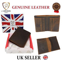 Designer J Wilson Mens Quality Real Leather Distressed Wallet Hunter Vintage