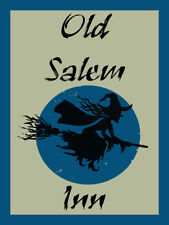 Old Salem Inn Flying Witch Halloween Fall Vintage Retro Classic Metal Sign