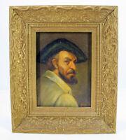 Vintage Oil/Masonite Portrait Painting Artist Self Portrait Signed Stumped yqz