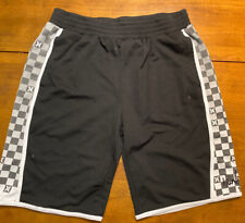 Hurley Mens Casual Shorts Black White Gray Checkered Polyester Pre-Owned Large