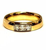 14k yellow white gold .18ct 3stone diamond comfort fit wedding band ring 7g mens