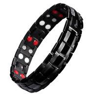EST Magnetic Negative Ion Germanium Far Infrared Titanium Black Bracelet Men