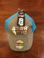 NEW DISNEY STAR WARS LOGO KIDS OFFICIAL SNAPBACK HAT GREY / LIGHT BLUE AUTHENTIC