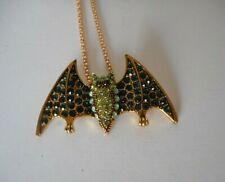 green BAT necklace fashion jewelry   rhinestone accents Halloween