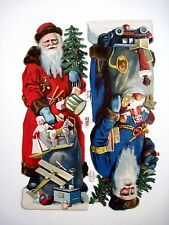 Antique Victorian Vintage Christmas Die-Cuts - 2 Santa's Carrying Lots of Toys *