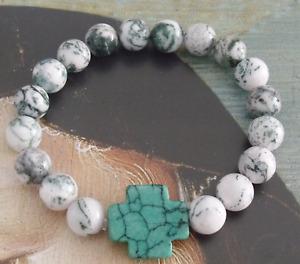 New Green Stone Cross Tree Agate Gemstone Beads Christian Stretch Bracelet