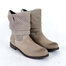 OTBT Brown Taupe Suede Leather Riding Slouch Boots Burnished Toe Womens Size 9 M