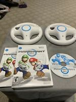 NINTENDO MARIO KART WII (COMPLETE) WITH TWO 2 OEM OFFICIAL STEERING WHEELS LOT