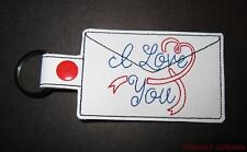 NEW EMBROIDERED  I LOVE YOU KEY RING, KEY FOB, LUGGAGE TAG, PURSE CHARM