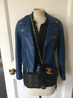 Maje blue leather bikers jacket size 1/36/6-8