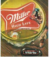1983 Miller HIGH LIFE Giant Beer Bottle Cap Welcome To Miller Time Vtg Print Ad