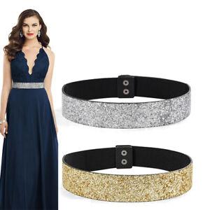 Women Elastic Dress Belt Bling Sparkle Stretch Shiny Party Adjustable Waist Belt