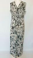 Wallis Floral Maxi Sleeveless Front Twist Dress Black Stretch Long Summer UK 16
