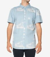 ZGY Mens Shirt Blue Size Large L Palm Tree Print Pocket Button Up $79 #377