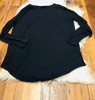 Athleta  long sleeve shirt sweater top navy blue mesh sleeve size Large
