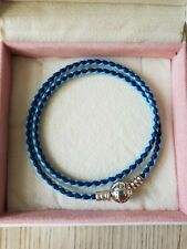 Genuine S925 Ale Double Blue Leather Pandora Moments Bracelet 19cm 38cm