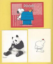 LOT OF 3 VTG CARDS ZIGGY TOM WILSON-PANDA J SHARKEY THOMAS-PEANUTS GALLERY POOF