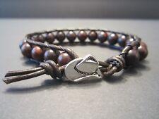 Men's Women's Western Cowboy Antique Brown Leather Bloodstone Wrap Bracelet