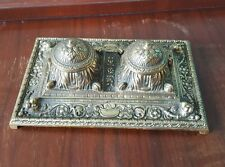 """Antique Vintage Brass Ornate Double Inkwell Porcelain? Inserts 9 1/2"""" x 6"""""""
