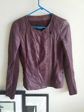 Trouve Nordstrom 100% Leather Jacket Purple Maroon Small