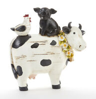 New Country COW PIG CHICKEN FIGURE Rooster Stacked Farm Animal Figurine