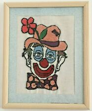 Punch needle embroidery happy circus clown child gift home decor art 12x15