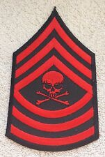 SKULL SERGEANT STYLE STRIPES PATCH Cloth Badge Biker Jacket Army Rock Metal Goth