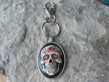 HAND PAINTED SUGAR SKULL CAMEO KEY CHAIN - QUALITY - GOTH - MEXICAN