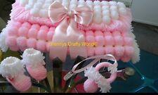 Pompom Blanket Set-Pink & White Blanket with Pink Satin Bow, Boots & Pram Charm
