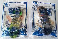 Star Wars Clone Wars Toys 2x Yoda + Cad Bane Skateboards McDonalds 2010 New Htf