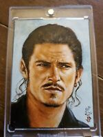 Pirates of the Caribbean Will Turner Orlando Bloom Sketch Card By Jason Potratz