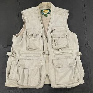 Cabela's Safari Vest Mens Large Khaki Tactical Fishing Hunting Utility Outdoors