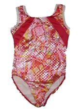 Girl Pink Geometric Capezio Future Star Gymnastics Leotard Size 4/5 XS