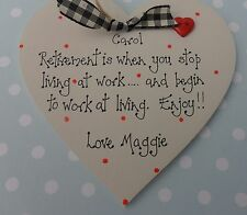 Personalised retirement friendship plaque handcrafted heart