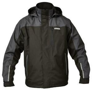 DeWALT STORM black grey waterproof lightweight hooded rip-stop coat jacket