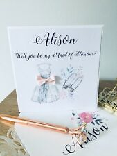 Will you be my Bridesmaid Maid of Honour Card With Personalised Envelope