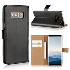 For Samsung Galaxy Note 8 Black Genuine Leather Cash Card Wallet Case Cover