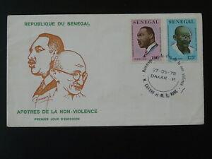 non-violence Martin Luther King Mahatma Gandhi FDC Senegal 101025