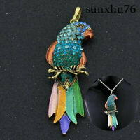 Parrot Rhinestone Sweater Chain Animal Colorful Crystal Pendant Women Necklace