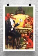 Magician And Devil Playing Poker Vintage Magic Poster Canvas Giclee 24x34 in.