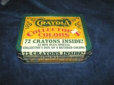 """CRAYOLA """"COLLECTOR'S TIN BOX"""" 72 Crayons (8  retired colors) 1991 Sealed"""