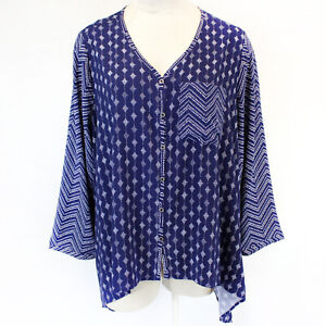 Lane Bryant Navy Geo Print Cotton Button Front Blouse Tunic Top 26/28