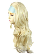 Pale Blonde Long Layered Wavy ends 3/4 Wig Fall Hairpiece Hair Piece WIWIGS UK