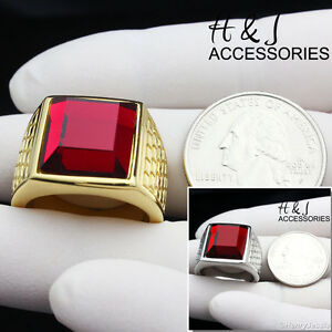 MEN's Stainless Steel Fashion Gold/Silver Tone Ruby Ring Size 8-13*AR81