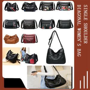 Vintage Women Solid PU Shoulder Bag Mother Multi-pocket Crossbody Handbags Purse