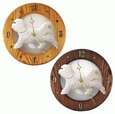 Havanese Wood Wall Clock Plaque Wht